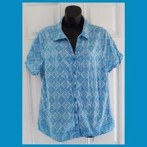 Erika Blue Button Front Shirt